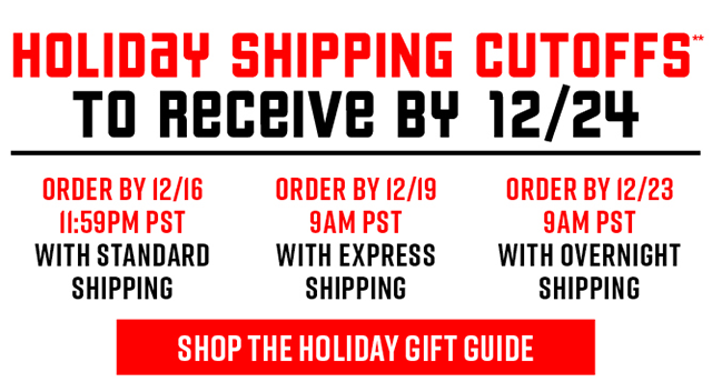Holiday Shipping Cutoffs to Receive by 12/24